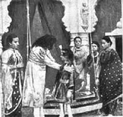 A scene from the Indian movie Raja Harishchandra