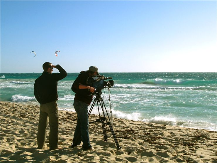 Shooting movie on beach