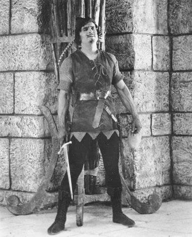 Screenshot of Hollywood star Douglas Fairbanks as Robin Hood