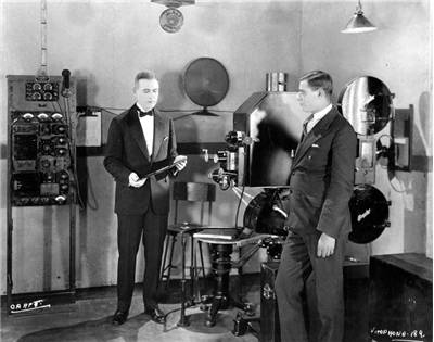 Photograph demonstrating Vitaphone projection system